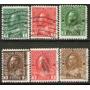 Canadá Serie X 6 Sellos Usados Rey George 5° Años 1911-16