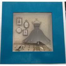 Quadro Em Arte Francesa -22x22x6cm - Caixa Turquesa E Branco
