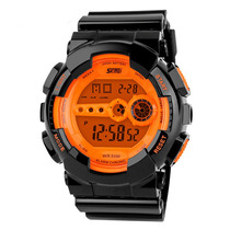 Reloj Digital Hombre Skmei 1026 Negro Con Pantalla Naranja