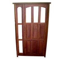Puerta Exterior Madera De Algarrobo Mod 019 C/raja Lateral