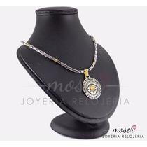 Cadena Soga Plata 925 Y Oro 18 Kts + Medalla Ojo De Horus