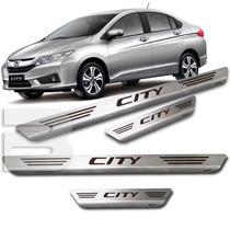 Kit Soleira Porta Aço Inox Escovado Honda City 2015 ~