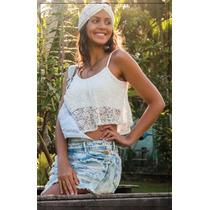 Top Crooped Anita De Renda Forrado S/ Bojo Modelo Blogueiras