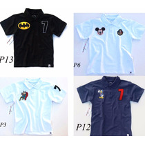 Camisa Camiseta Polo Infantil Mickey Heróis Coleção Menino