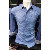 Camisa Social Jeans Dudalina Masculina Fit