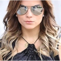 Oculos Rayban Aviador Original Prata Espelhado Feminino Masc