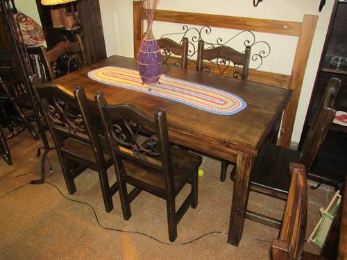 Juego de comedor r stico madera maciza en - Ver mesas y sillas de comedor ...