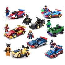 Super Heroes 8 Minifiguras + 8 Carros Compatível Lego 361 Pç