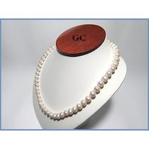 Collar De Perlas Naturales Con Broche De Plata Sencillo