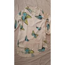 Camisa Chemise Mini Vestido Cetim Borboletas P Creme