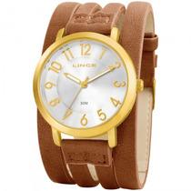 Relógio Lince Lrc4226l S2mx Feminino Dourado Couro- Refinado