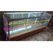 Vitrina Exhibidor 2m, Luz Interna, 2 Entrepaños Cristal 6mm