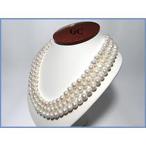 Collar De Perlas Naturales Con Broche De Oro 14k Triple