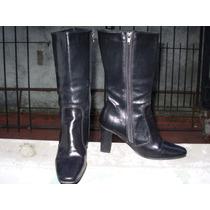 Botas De Cuero Forradas Color Negro