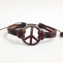Pulseira Masculina Feminina Couro Simbolo Paz Rock Hippie
