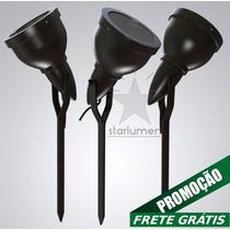 Kit 9x Espeto Jardim Alumínio Luminária Preto E27 Par 20