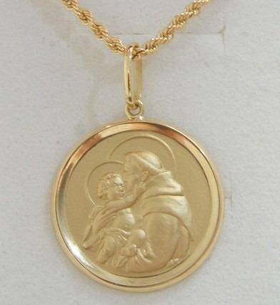 Swjoias Cordão Baiano 60cm Medalha Santo Antonio Ouro 18k - R  2.149 ... 8e60b7a021