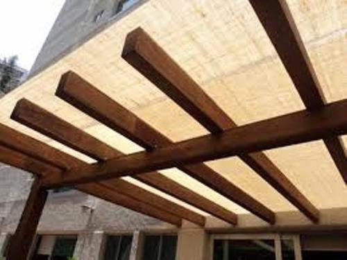 Malla sombra residencial en estructura de madera m2 - Estructura de madera para piscina ...