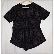 Remeron Blusa Negra Algodon C Brillo Gorditas Talles Grandes