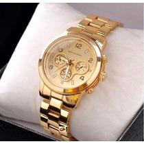 Relógio Feminino Dourado Aço Banhado Miota Estojo Da Marca