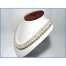 Collar De Perlas Naturales Con Broche De Oro 10k Doble