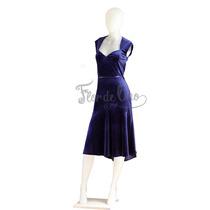 Vestido De Tango Y Noche Color Azul - Terciopelo - Talle M