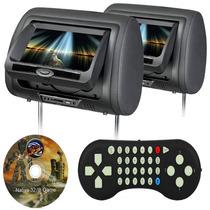 2 Encosto De Cabeça Monitor Tela 7 Pol Dvd Jogos Usb Sd Lcd