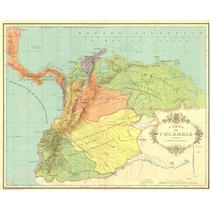 Lienzo Tela Carta De Colombia División Territorios 1538 Mapa