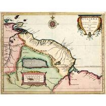 Lienzo Tela Carta Guayana Sur América Año 1625 50x64cm Mapa