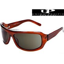 Óculos De Sol Up Union Pacific Masculino Marrom Acetato Novo