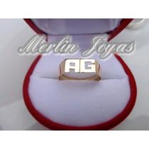 Anillo Oro18k Doble Inicial- 2,5 Gramos -economico - M. J. -