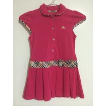 Vestido Infantil Rosa Xadrez Modelo Tenista Polo Festa