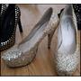 Zapatos De Fiesta Glitter Marca Piel Morena. Como Nuevos!!!