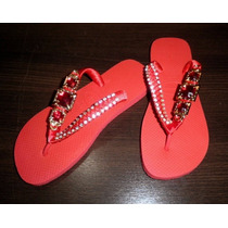Chinelo/ Sandália Personalizada - Strass, Fita E Ornamento