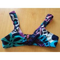Top De Bikini Para Niña Azul-lila Talla Xs (6-7) Tb190