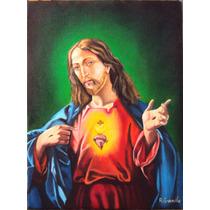 Quadro Sagrado Coração De Jesus Pintura Óleo S/tela 40x30cm