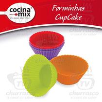 Kit Forma Cupcake 12 Peças Silicone - Muffins Petit Gateau