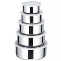Conjunto De 5 Potes Em Inox Com Tampa Para Mantimentos