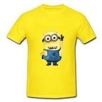 Camiseta Minions Crianca Adulto Amarela E Branca