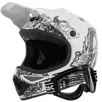 Capacete Moto Cross Trilha Pro Tork Jett Tattooed + Óculos