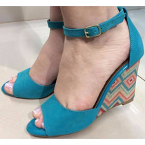 Sandalia Em Nobuck Azul Turqueza Salto Colorido