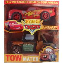 Carrinho Cars 02 Personagens Mcqueen E Mater De Fricção