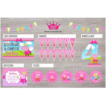 Kit Impreso Peppa Pig Invitaciones Stickers Cartel Banderín