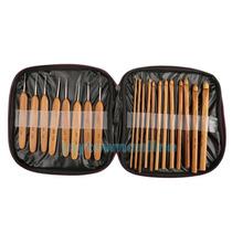 Kit Bambu Com 20 Agulhas Para Crochê Kit + Case