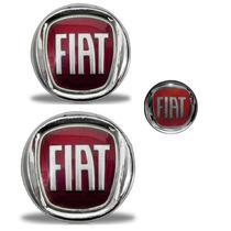 Kit Emblemas Fiat Vermelho Doblo Grade Mala E Chave Canivete