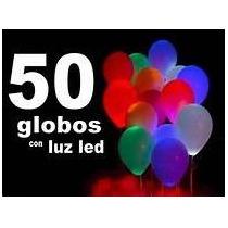 Globos Led, Pack 50 Unidades, Colores Surtidos, Helio O Aire