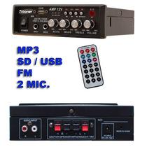 Amplificador 250w Trooner Digital Mp3 Fm Player Usb Sd Card