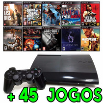Playstation 3 Ps3 Super Slim + 45 Jogos Originais + Hdmi