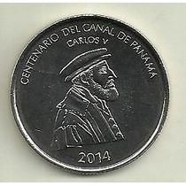 Moneda Panama 1/2 Balboa Año 2014 100 Años Canal De Panama
