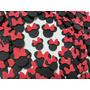 100 Apliques Orelhinha Da Minnie Laço Vermelho Lembrancinhas